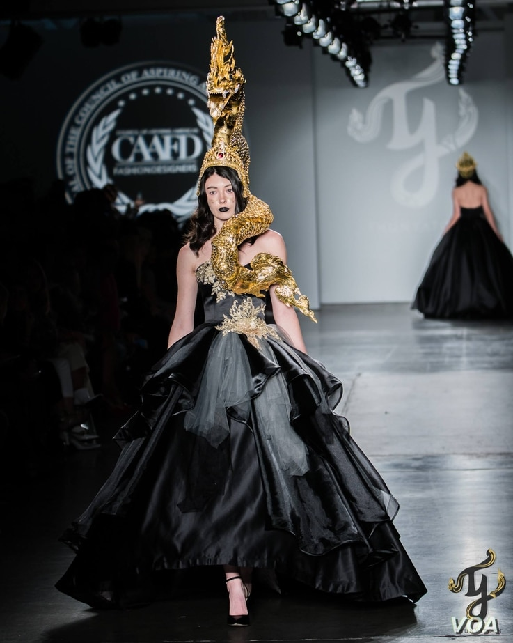 A model wears a Naga costume designed by Thunyatorn Ng at New York Fashion Week 2018