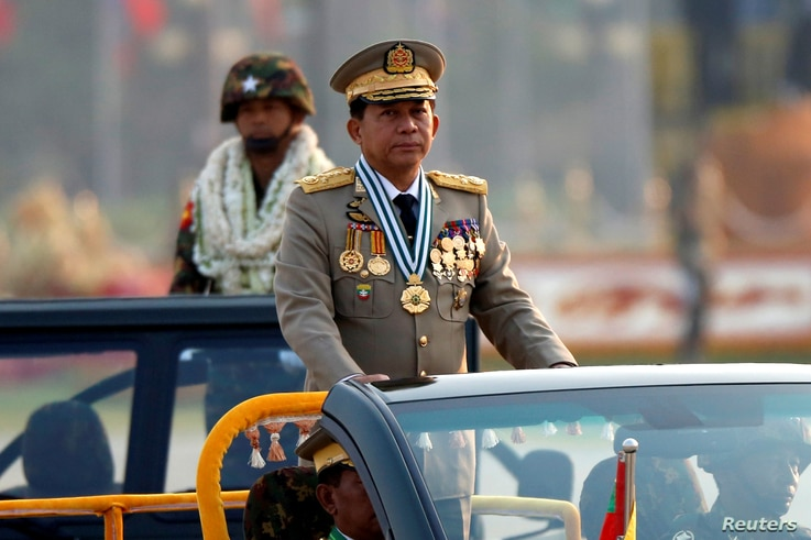 Myanmar's General Min Aung Hlaing takes part during a parade to mark the 72nd Armed Forces Day in the capital Naypyitaw, Myanmar, March 27, 2017.
