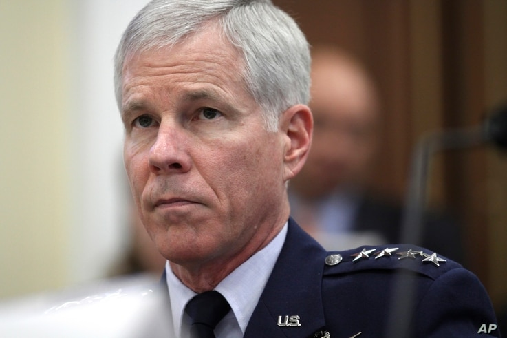 Gen. William Shelton, Commander, U.S. Air Force Space Command, testifies on Capitol Hill, Sept. 15, 2011.