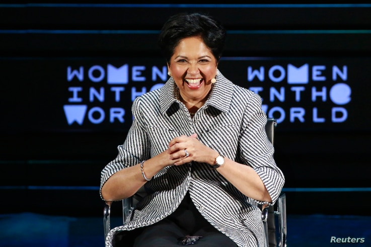 Indra Nooyi, CEO of PepsiCo, takes part in a panel during the Women In The World Summit in New York, April 8, 2016. Nooyi is stepping down, leaving 24 female CEOs running Fortune 500 companies.