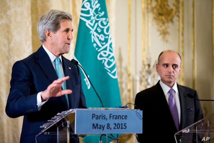 Secretary of State John Kerry, accompanied by Saudi Foreign Minister Adel al-Jubeir, speaks at a joint news conference at the Chief of Mission Residence, Paris, following a meeting with the foreign ministers of the Gulf Cooperation Council, May 8, 20...