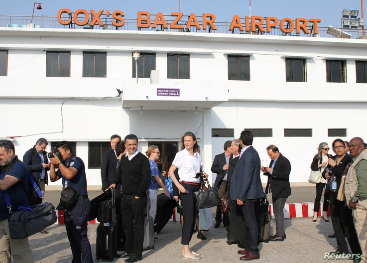 United Nations Security Council envoys arrive at Cox's Bazar airport in Bangladesh, April 28, 2018.