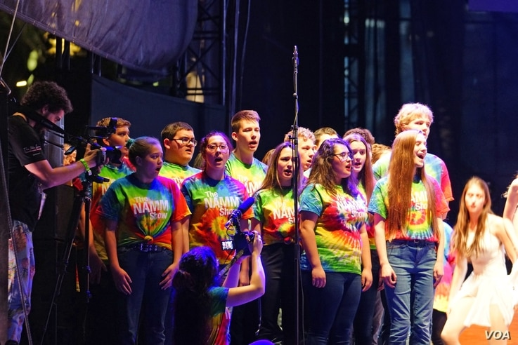 Voices Strong United, the choir of more than 100 students, performs in Anaheim, California, Jan. 26, 2019.