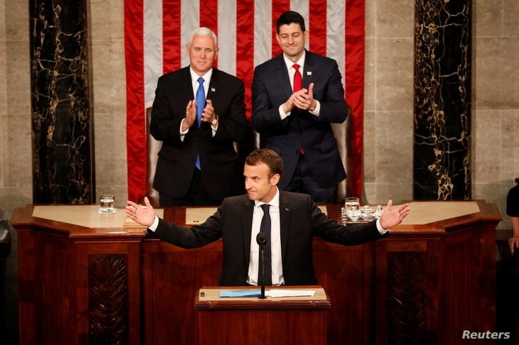 French President Emmanuel Macron addresses a joint session of Congress at the U.S. Capitol in Washington, April 25, 2018.