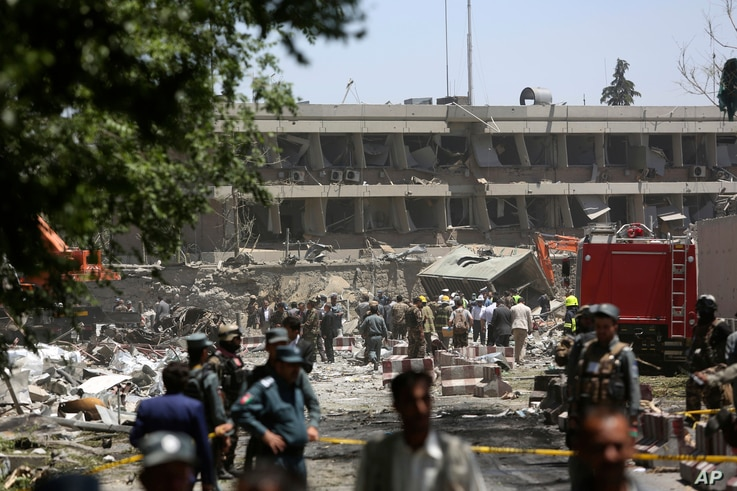 Security forces inspect near the site of an explosion where German Embassy is located in Kabul, Afghanistan, May 31, 2017. A massive explosion rocked a highly secure diplomatic area of Kabul on Wednesday morning, causing casualties and sending a huge...