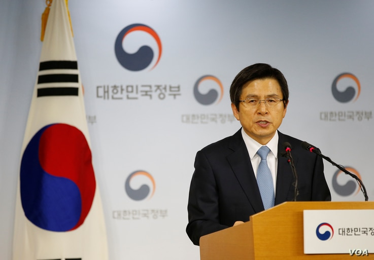 South Korean Prime Minister and the acting President Hwang Kyo-ahn releases a statement to the nation at the Goverment Complex in Seoul, South Korea, Dec. 9, 2016.