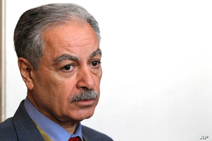 Mustafa al-Hiti, the head of the Iraq's reconstruction fund for areas affected by terroristic operations, speaks to The Associated Press in Kuwait City, Kuwait, Feb. 12, 2018.