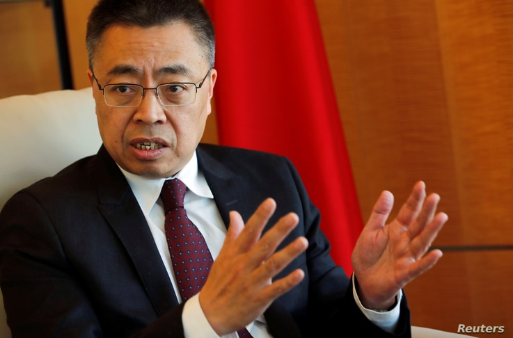 Xiangchen Zhang, Chinese Ambassador to the World Trade Organization (WTO) attends an interview with Reuters in Geneva, Switzerland, March 22, 2018.