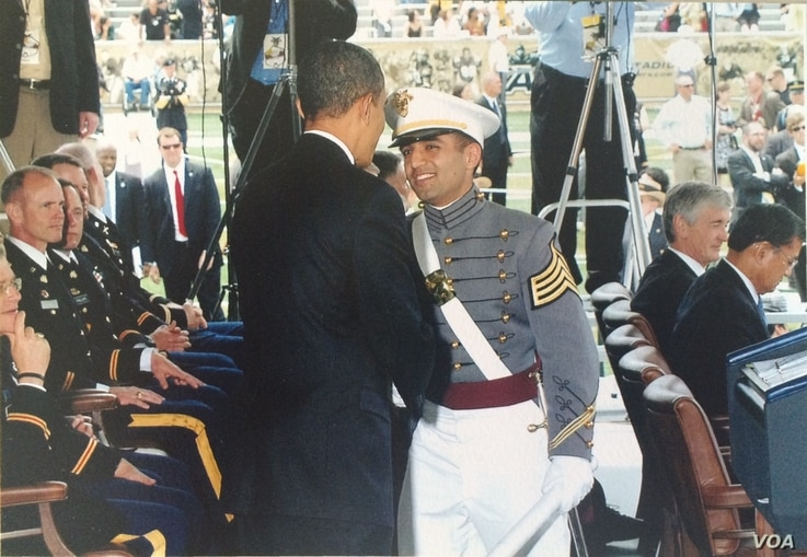 Captain Simratpal Singh shakes hands with President Barack Obama at the 2010 graduation from U.S. Military Academy at West Point. (Photo courtesy of Capt. Simratpal Singh)