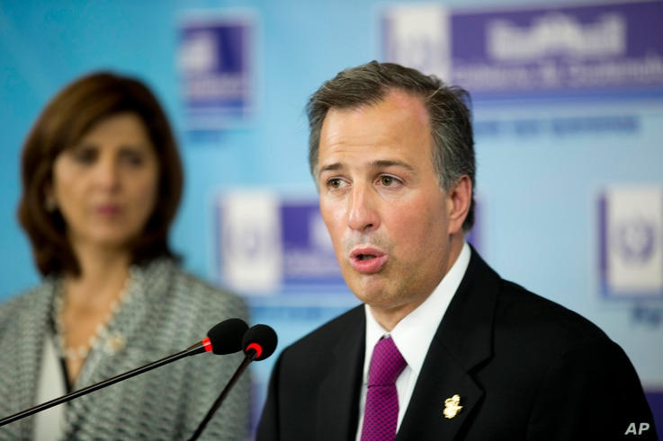 Mexico's Foreign Minister Jose Antonio Meade speaks at a press conference in Antigua, Guatemala, June 26, 2015.