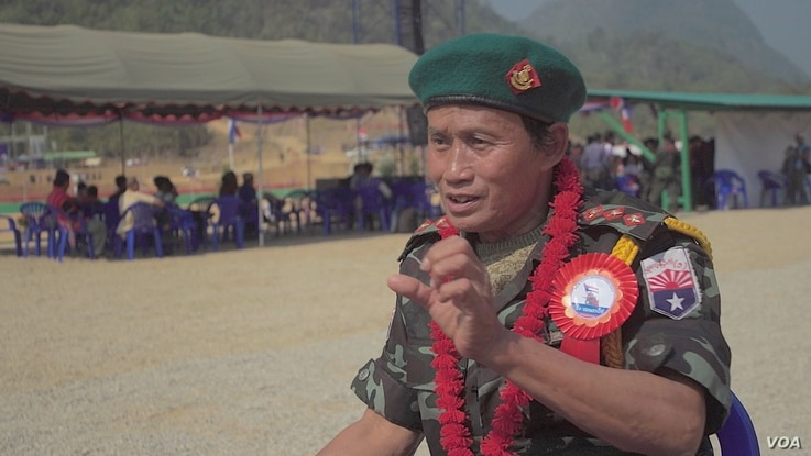 Senior KNLA commander commander Eh K'Lu is seen at the Karen Revolution day ceremonies Jan. 31, 2019, in Karen state, Myanmar, near the Thai-Myanmar border.