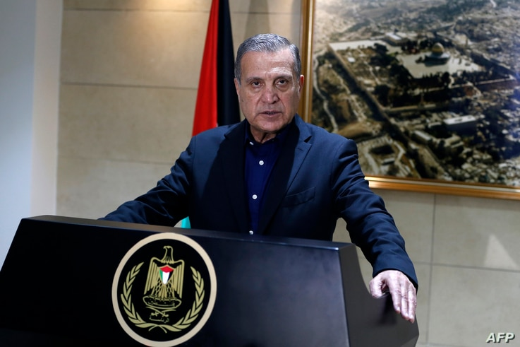 """Nabil Abu Rudeinah, spokesman for the Palestinian president, speaks at a press conference in Ramallah in the West Bank, Dec. 5, 2017. U.S. President Donald Trump told Palestinian President Mahmoud Abbas of """"his intention to move the U.S. Embassy from..."""