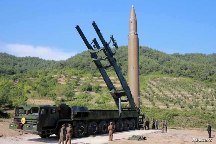 The Hwasong-14, which North Korea claims in an intercontinental ballistic missile, is seen in this undated photo released by North Korea's Korean Central News Agency in Pyongyang July 5, 2017.