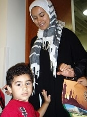 Sally Hassan with one of her children at the ADAMS center, 13 Sep 2010