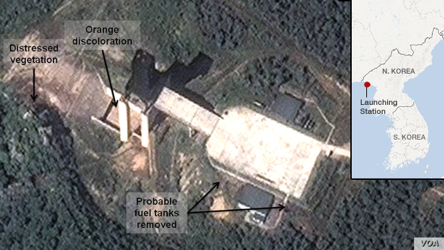 A satellite image provided by DigitalGlobe shows a facility in Sohae, North Korea where analysts believe rocket engines have been tested.
