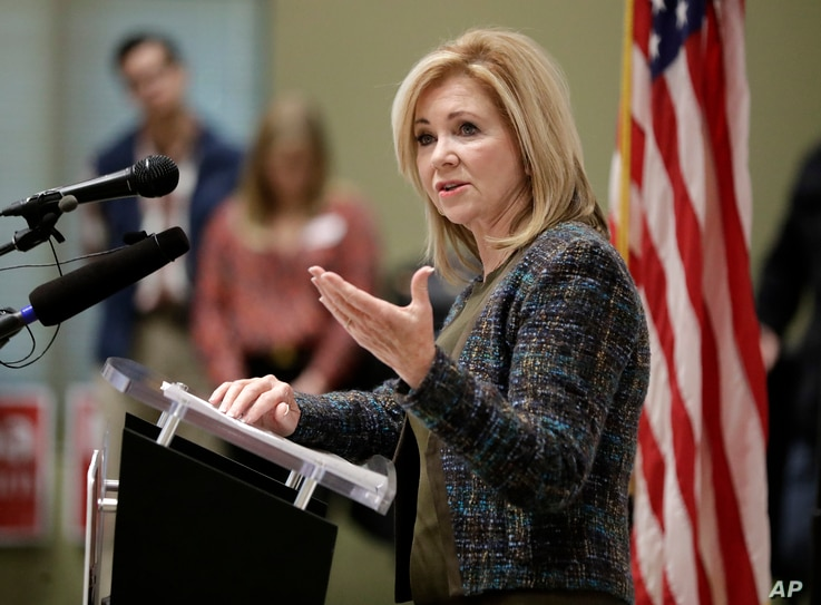 Republican Senate hopeful Marsha Blackburn speaks during a campaign stop Wednesday, Oct. 17, 2018, in Franklin, Tenn.
