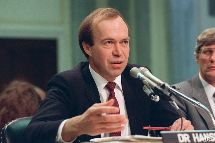 FILE - In this May 9, 1989 file photo, Dr. James Hansen, director of NASA's Goddard Institute for Space Studies in New York, testifies before a Senate Transportation subcommittee on Capitol Hill in Washington, D.C., a year after his history-making te...
