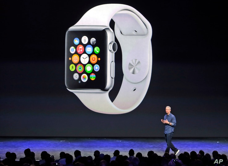Apple CEO Tim Cook introduces the new Apple Watch on Tuesday, Sept. 9, 2014, in Cupertino, Calif. Apple's new wearable device marks the company's first major entry in a new product category since the iPad's debut in 2010. (AP Photo/Marcio Jose Sanche