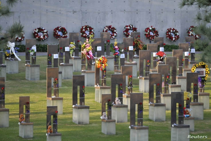 The Field of Empty Chairs is seen during the 20th Remembrance Ceremony, the anniversary ceremony for victims of the 1995 Oklahoma City bombing, at the Oklahoma City National Memorial and Museum in Oklahoma City, Oklahoma April 19, 2015. REUTERS/Nick