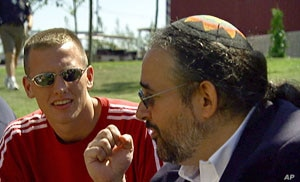 "In this still photograph from the documentary ""Freaks Like Us,"" Rabbi Hirschfield teaches youth at the quadrennial Parliament of the World's Religions in Barcelona, Spain about the spirit of inclusion and respect for others, whatever their beli..."