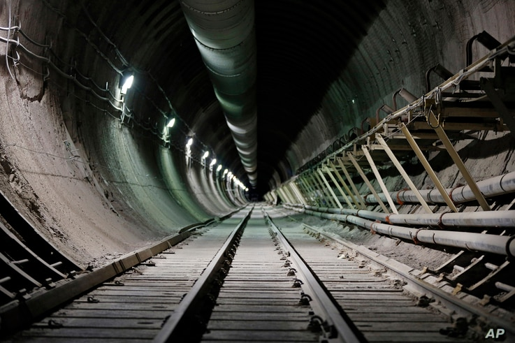 FILE - This photo shows the interior of the proposed Yucca Mountain nuclear waste dump near Mercury, Nevada, April 9, 2015.