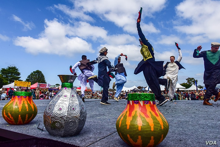 Students perform a traditional Afghan dance called Attan during Annual Language Day at the U.S. Defense Language Institute, in Monterey, California, May 13, 2016. The day was observed at DLI for the promotion of cultural understanding and customs fro...