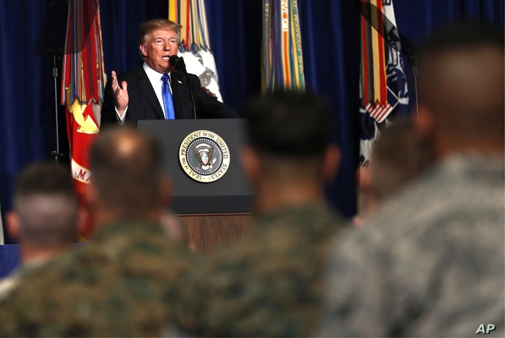 President Donald Trump speaks at Fort Myer in Arlington Va., Aug. 21, 2017, during a Presidential Address to the Nation about a strategy he believes will best position the U.S. to eventually declare victory in Afghanistan.