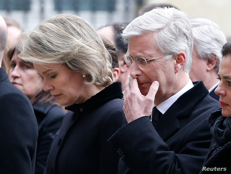 Belgian King Philippe and Queen Mathilde attend a commemoration ceremony at the Belgian parliament for victims of Tuesday's bombing attacks in Brussels, Belgium, March 24, 2016.