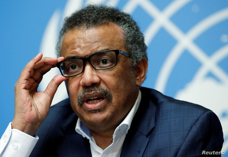 Director-General of the World Health Organization Tedros Adhanom Ghebreyesus attends a news conference after an emergency committee meeting on the Ebola outbreak in the Democratic Republic of the Congo at the United Nations in Geneva, Switzerland, Au...
