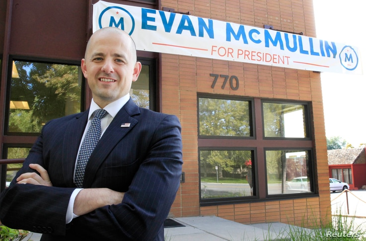 Third-party candidate Evan McMullin, an independent, poses for a picture outside his campaign offices in Salt Lake City, Utah, Oct. 12, 2016.