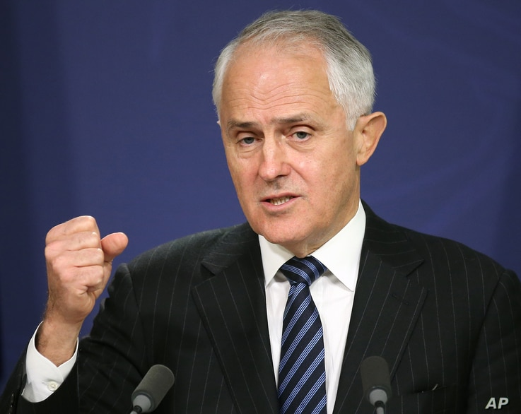 Australia's Prime Minister Malcolm Turnbull speaks in Sydney, Aug. 10, 2016. Turnbull warned Sept. 1 against fomenting distrust of Muslims as he outlined tougher measures against supporters of the Islamic State movement.