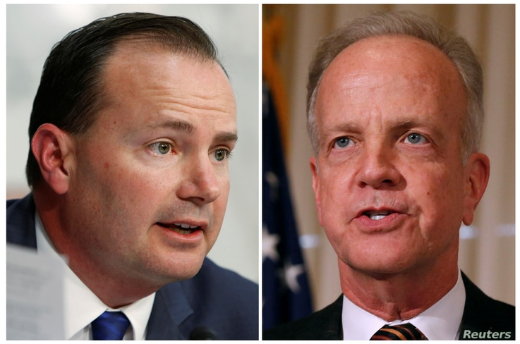 FILE - A combination photo shows Republican Senators Mike Lee speaking in Washington, March 21, 2017, and Jerry Moran speaking in Washington, Jan. 8, 2015.