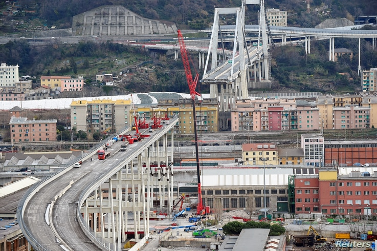 A general view of the collapsed Morandi Bridge in the port city of Genoa, Italy, February 7, 2019.
