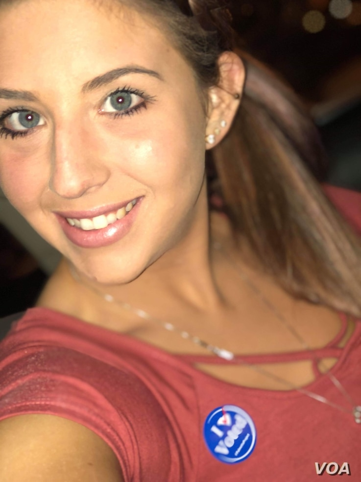 """TharinNolte, 24, of Summerville, S.C., was among the many young voters who participated in midterm elections on Nov. 6, 2018. """"My political party didn't win, but that doesn't mean that I don't have hope for us,""""she said."""