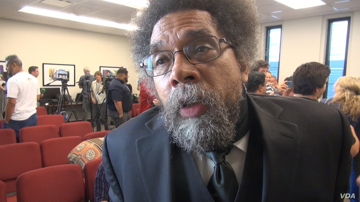 Princeton University professor Cornel West says Democratic nominee Hillary Clinton has not been able to convince him that she would genuinely address the issues that are important to those who backed Vermont Senator Bernie Sanders, Aug. 6, 2016. (G. ...