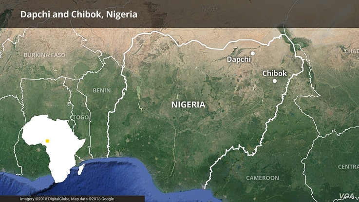 Map showing Dapchi and Chibock, Nigeria