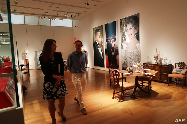 Furniture and other items are displayed at Christie's where items from the former president and Nancy Reagan's California home are to be auctioned, Sept. 16, 2016 in New York City.