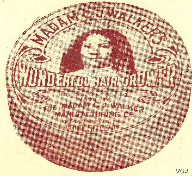 An image of Madam C.J. Walker on the seal of one of her products.