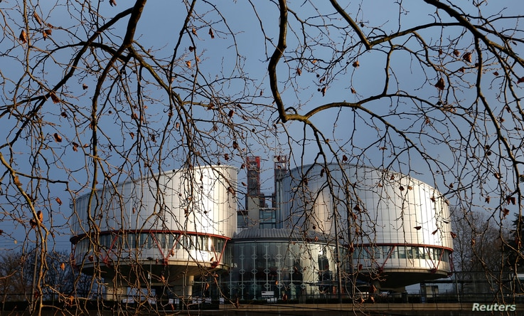 FILE - The building of the European Court of Human Rights is seen in Strasbourg, Jan. 7, 2015.