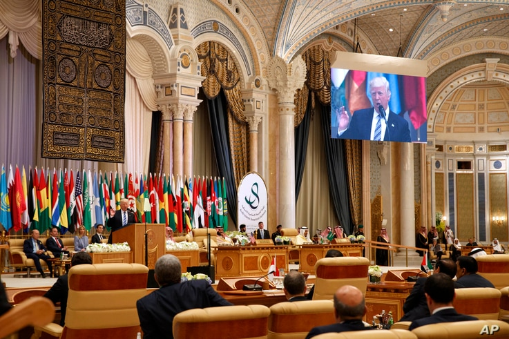 President Donald Trump delivers a speech to the Arab Islamic American Summit, at the King Abdulaziz Conference Center, May 21, 2017, in Riyadh, Saudi Arabia.