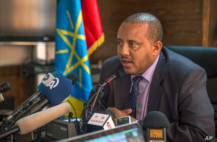 Ethiopia's Communication Affairs Minister Getachew Reda speaks to media about the current unrest in the country, in the capital Addis Ababa, Ethiopia, on October 10, 2016.