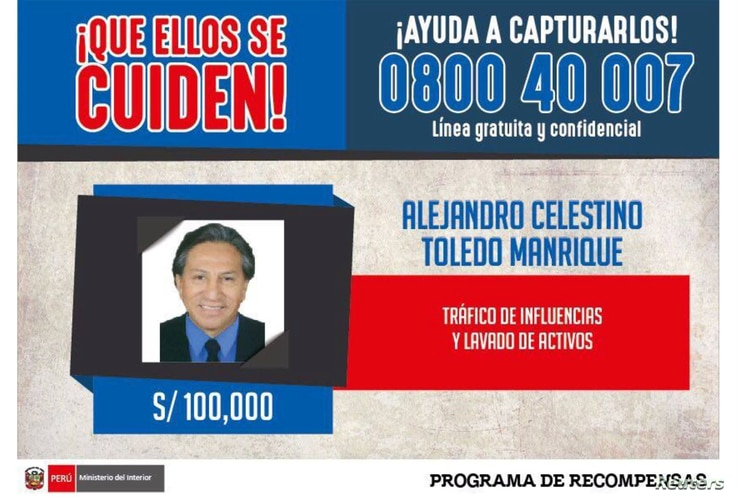 An international arrest warrant issued by Peru's Interior Ministry, offering 100,000 Peruvian soles ($31,000) for information on the whereabouts of former president Alejandro Toledo, is seen in Lima, Peru. (Peruvian Police/Handout)