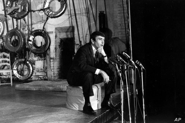 "FILE - Playwright Edward Albee, winner of the 1967 Pulitzer Prize for drama, talks to reporters during a news conference at the Cherry Lane Theater in Greenwich Village in New York City, May 2, 1967. Albee won for his play ""A Delicate Balance."""