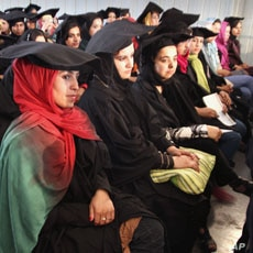 Young Afghani women graduate from a vocational technical institute in Kabul, September 13, 2011.