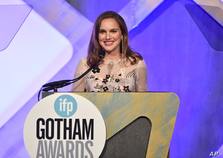 Actress Natalie Portman presents at the 26th Annual Gotham Independent Film Awards at Cipriani Wall Street, Nov. 28, 2016, in New York.