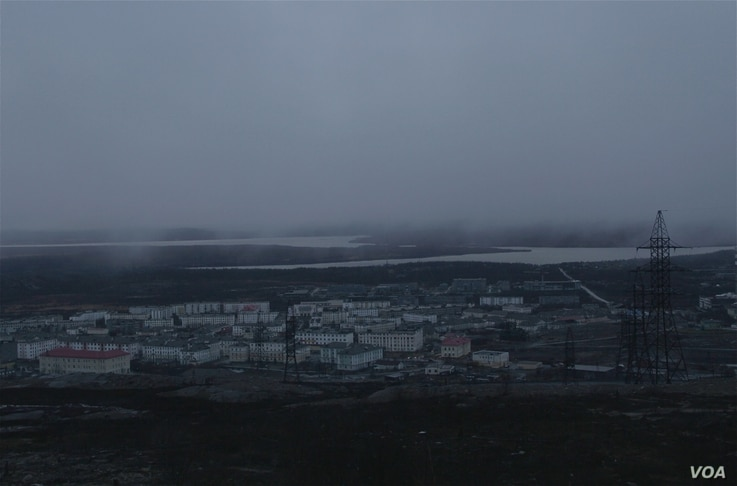 A view of the Russian mining town of Nickel, near the border with Norway.