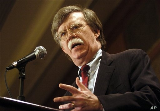 John R. Bolton, the U.S. ambassador to the United Nations, speaks to the Baltimore Council on Foreign Affairs Friday, May 19, 2006 in Baltimore. (AP Photo/Steve Ruark)