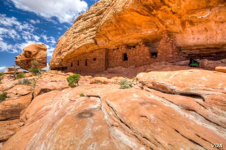 """Ruins of a citadel at Cedar Mesa, built by the Anasazi (""""Ancient Ones""""), believed to be ancestors of the modern Pueblo Indians.  The Anasazi inhabited the Bears Ears area from about 200 BCE to 1300 CE. Courtesy of the Bureau of Land Management, U.S. ..."""