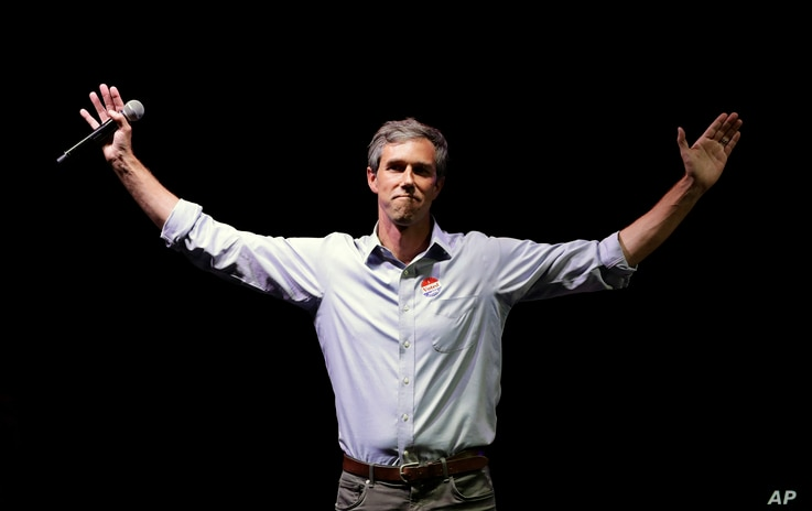 FILE - Rep. Beto O'Rourke, D-Texas, the 2018 Democratic candidate for U.S. Senate in Texas, makes his concession speech at his election night party in El Paso, Texas, Nov. 6, 2018.