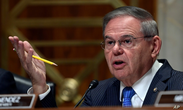Sen. Bob Menendez, D-N.J., asks a question of Secretary of State Mike Pompeo during testimony before the Senate Foreign Relations Committee on Capitol Hill in Washington, July 25, 2018, during a hearing on diplomacy and national security.